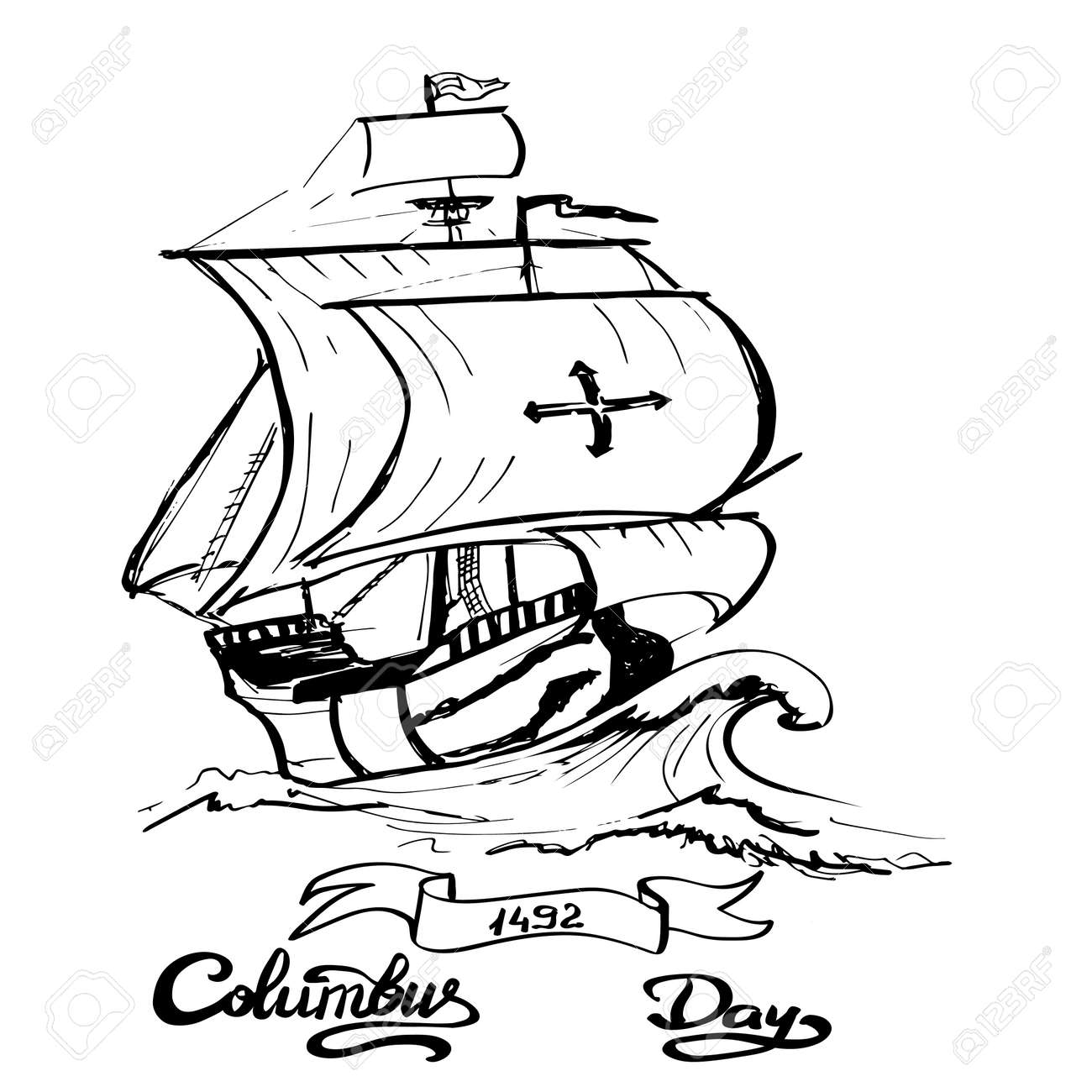 columbus day sign santa maria boat vector illustration royalty rh 123rf com