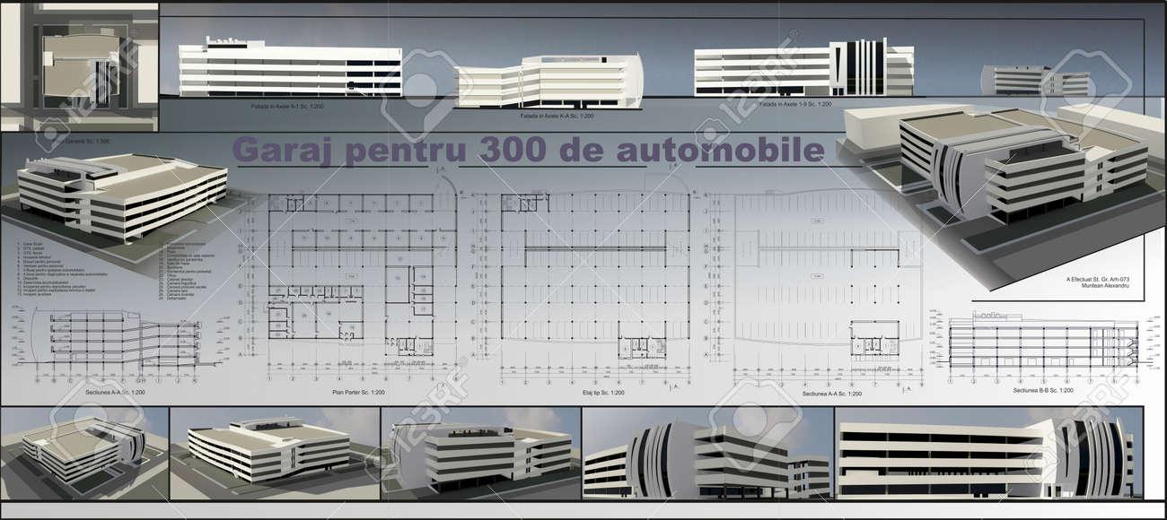 Conceptual Project Of Multi-storey Car Park, 3d Views And Blueprints ...