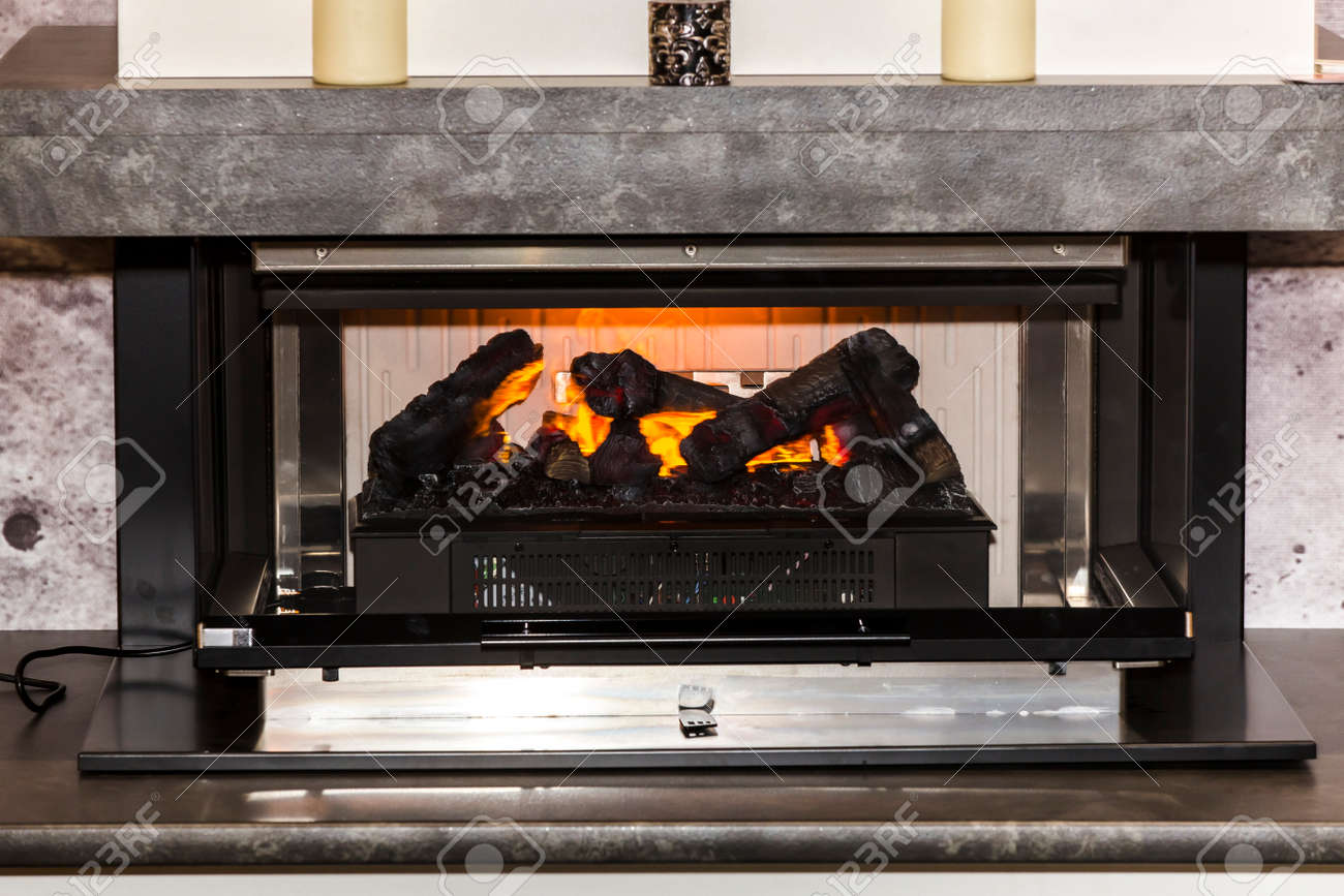Electric Fireplace With Artificial Sparkling Flame Decor For