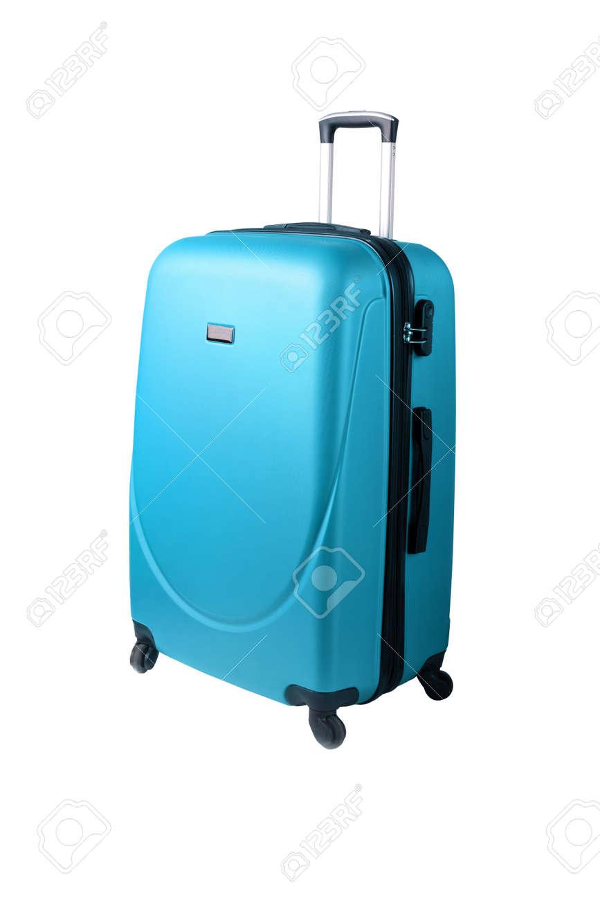 blue suitcase isolated on white background - 135559638
