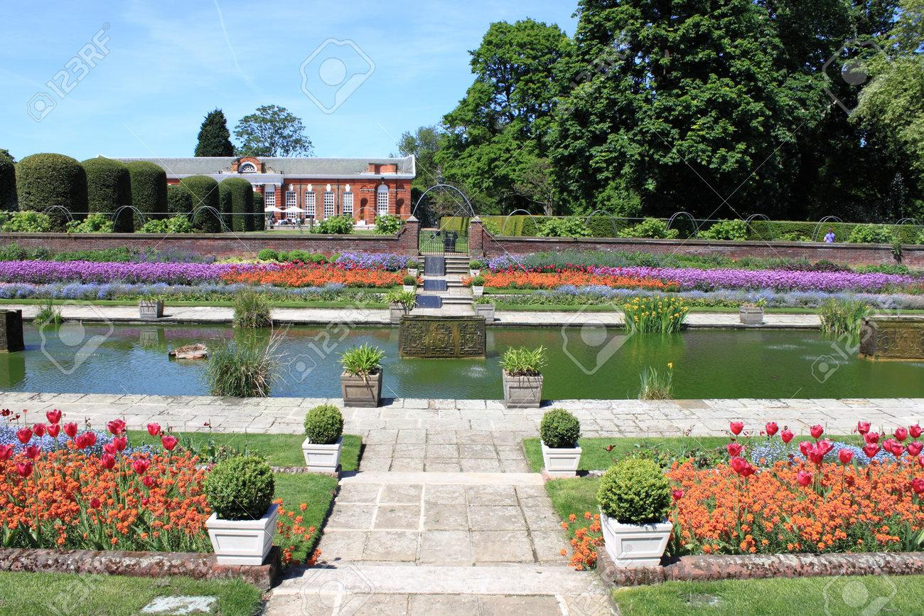 The Beautiful Gardens Of Kensington Palace In London UK Stock