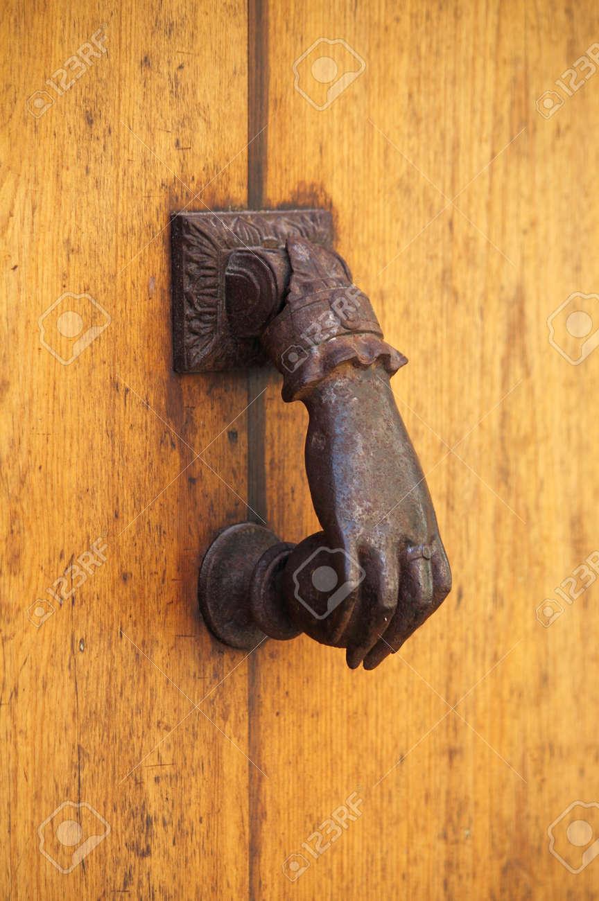 Old bronze knocker on a wooden door Stock Photo - 14154618