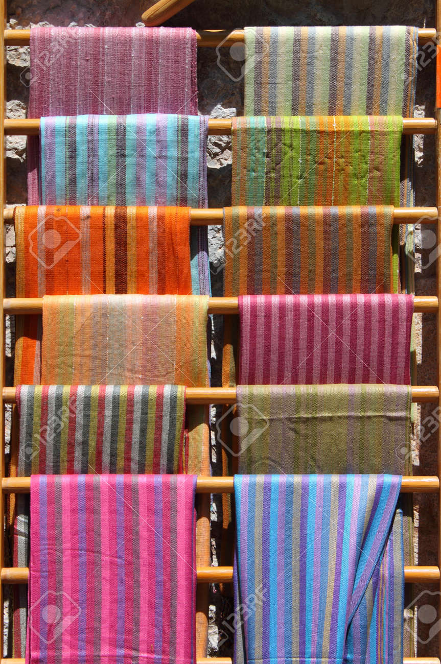 Colorful Scarves Stacked In A Fashion Shop Stock Photo, Picture ...