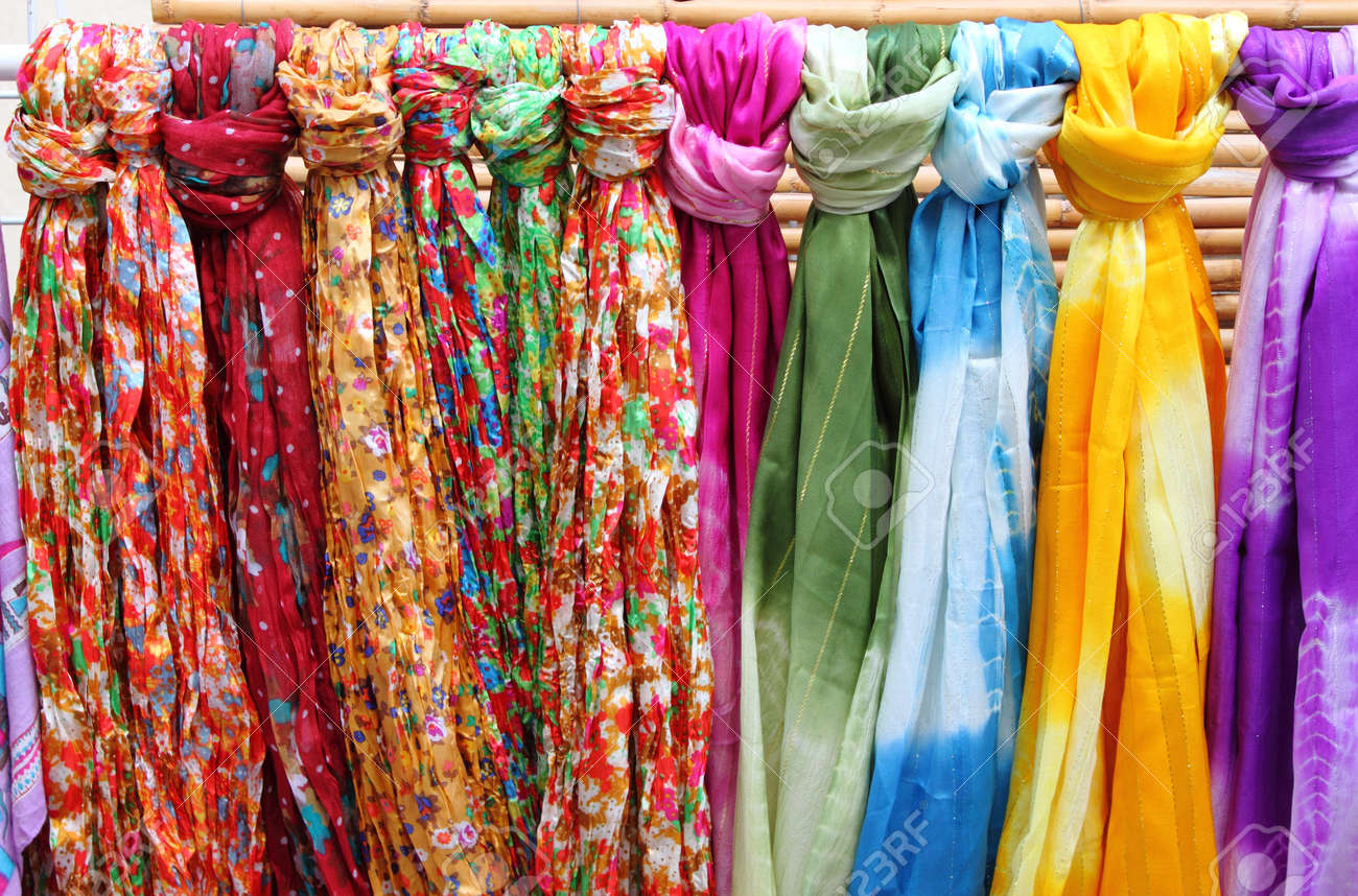 Colorful Scarves Hanging In A Shelf Of A Fashion Shop Stock Photo ...