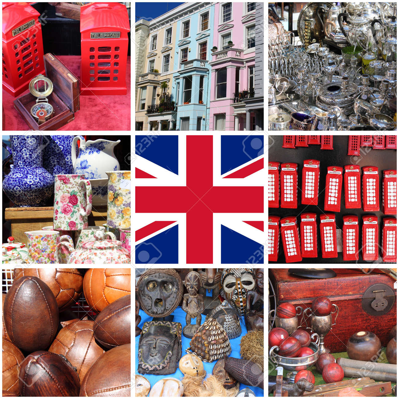 Collage of images of Portobello Road Market  London, UK Stock Photo - 20014586
