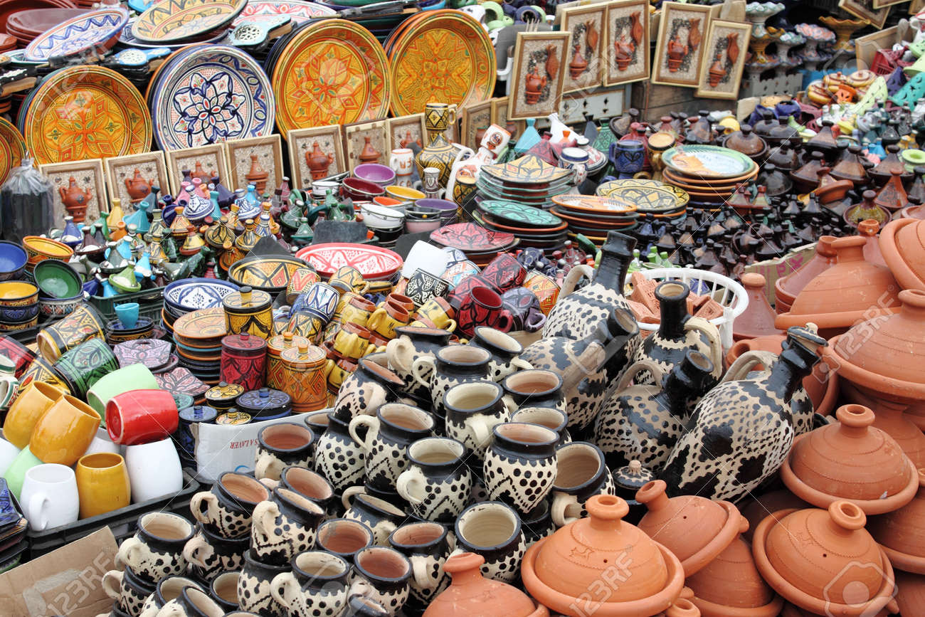Traditional moroccan pottery for sale in a market stall Stock Photo - 20400505