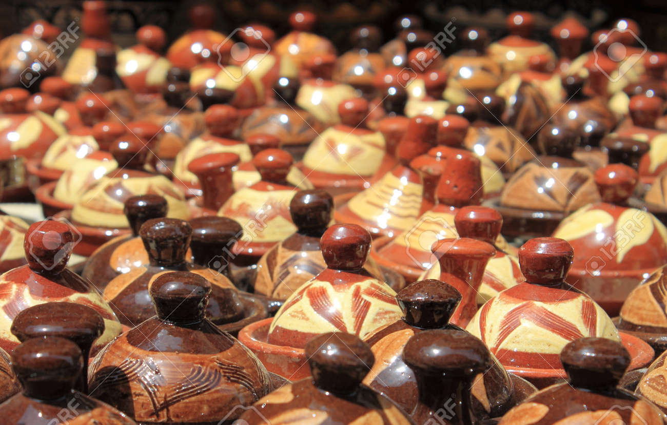 Many tajines for sale in a market stall Stock Photo - 20668191