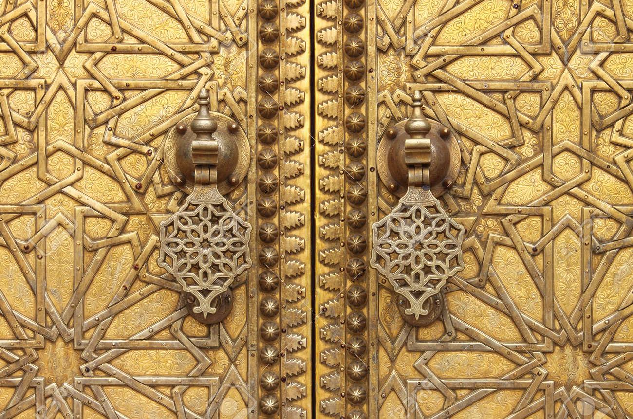 Stock Photo - The golden door knockers of the Royal Palace in Fes Morocco & The Golden Door Knockers Of The Royal Palace In Fes Morocco Stock ...