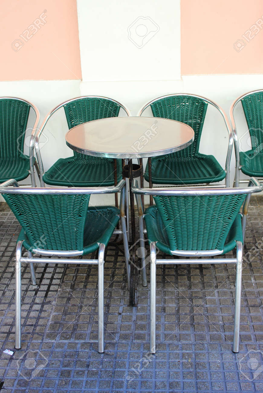 Iron Table And Vintage Chairs On Outdoors Cafe In Mediterranean Europe  Stock Photo   26932388