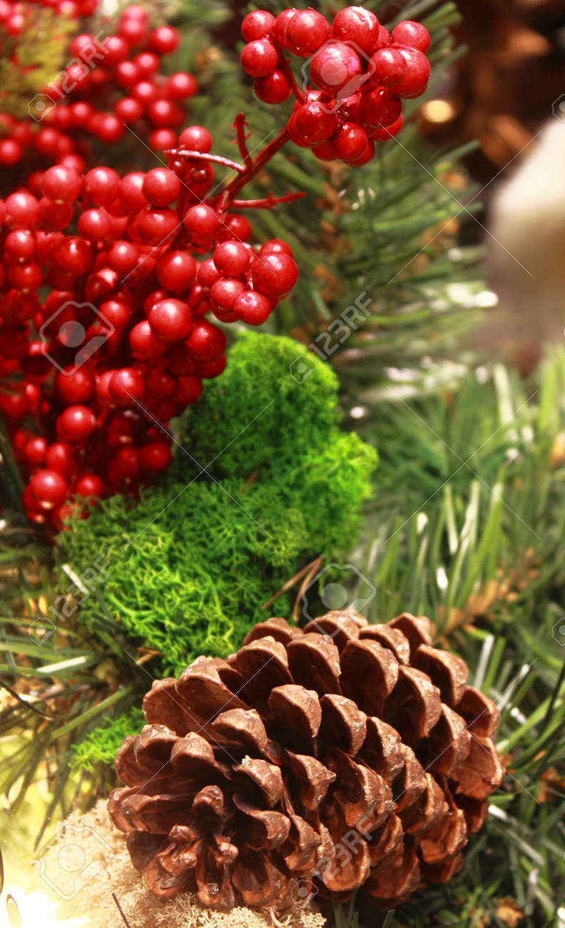 Christmas Table Decorations With Holly, Pine Cones, Mistletoe, Cedar  Cypress And Juniper Leaf