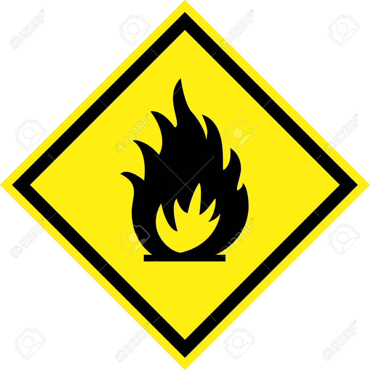 Yellow Hazard Sign With Fire Symbol Stock Photo Picture And Royalty