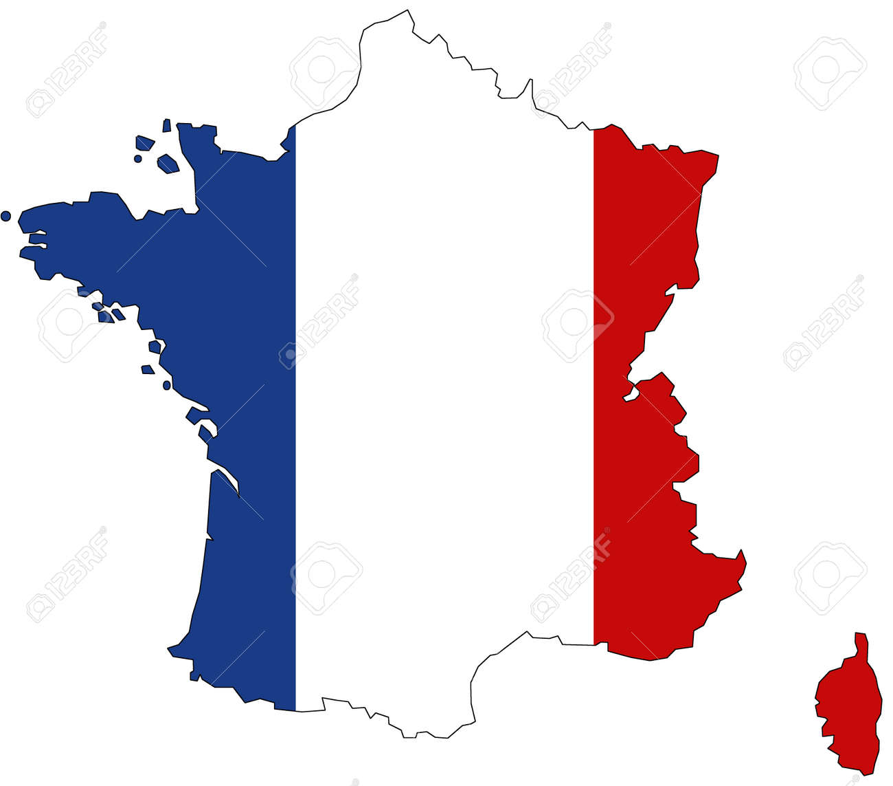 Map of France with official flag colors - 158794027