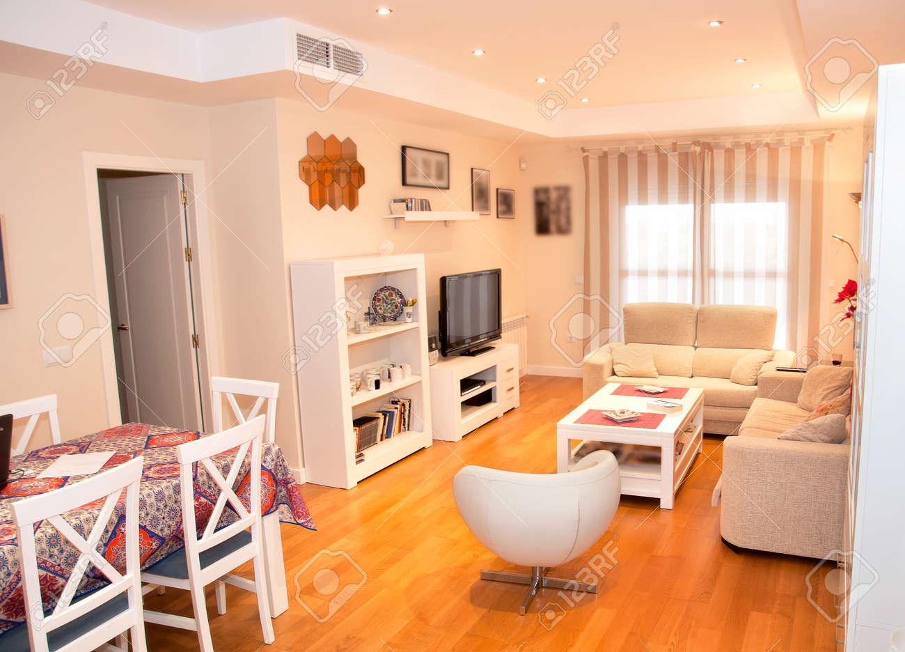 Photo colorée d\'un salon avec une décoration moderne