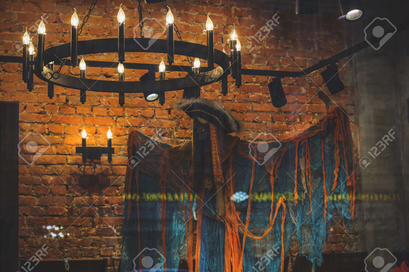 sports shoes 88318 914aa A chandelier with candles and a ghost pirate.interior decoration..