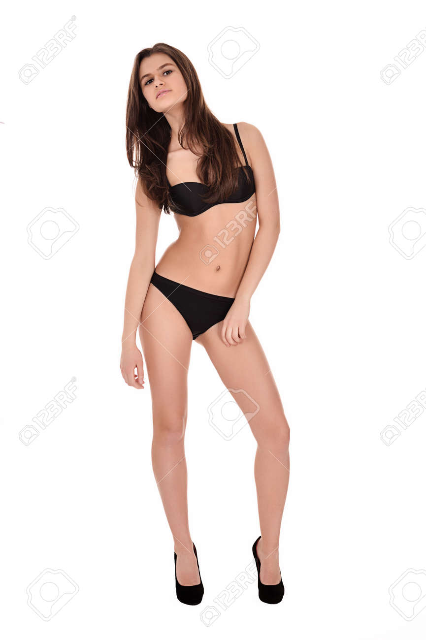 Sexy Teenage Girl In Lingerie On White Background Stock Photo 41976202