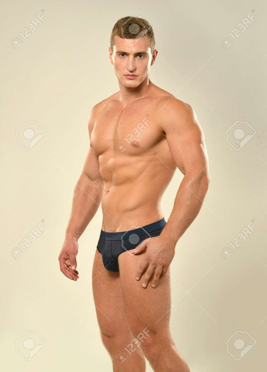 Stock Photo Young Sporty Handsome Man With Naked Torso