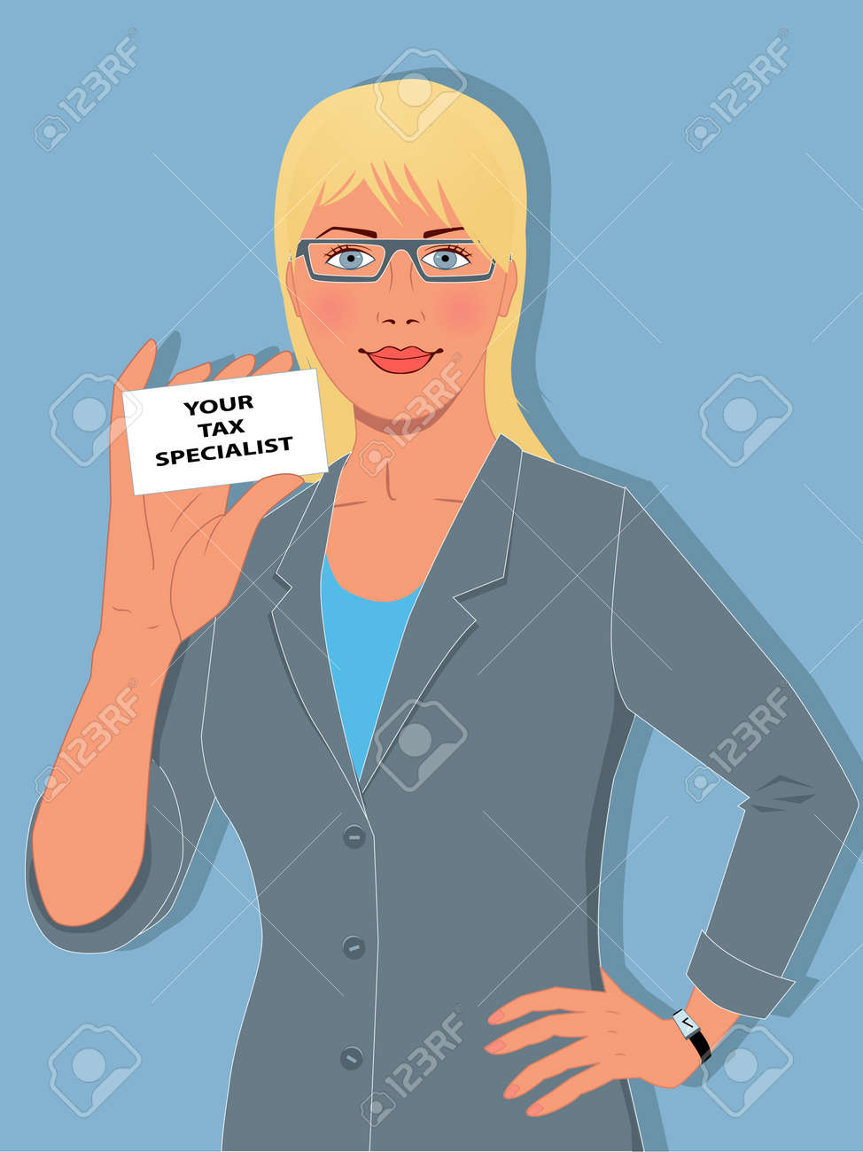 Cute blond woman in a business suit holding a symbolic tax specialist business card Stock Vector - 18494458