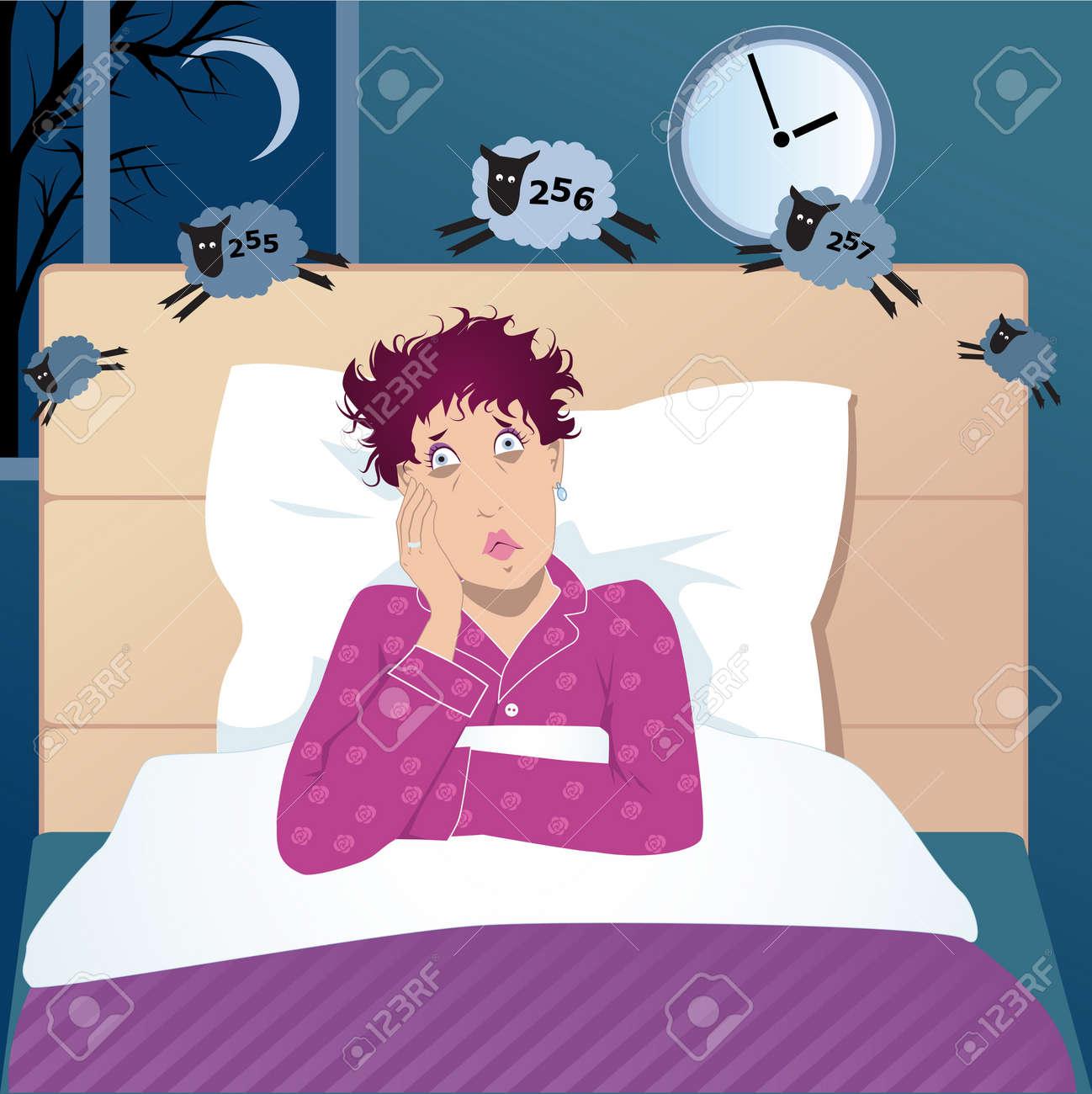 Frau Mittleren Alters Mit Schlaflosigkeit In Ihrem Bett Liegen In