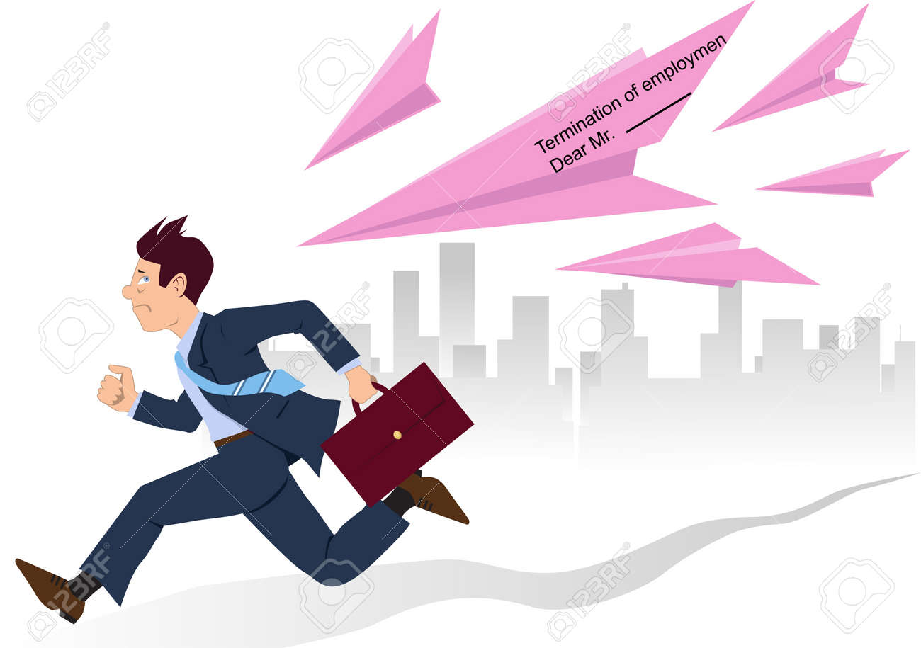 Businessman running from paper planes made of employment termination slips Stock Vector - 18494466