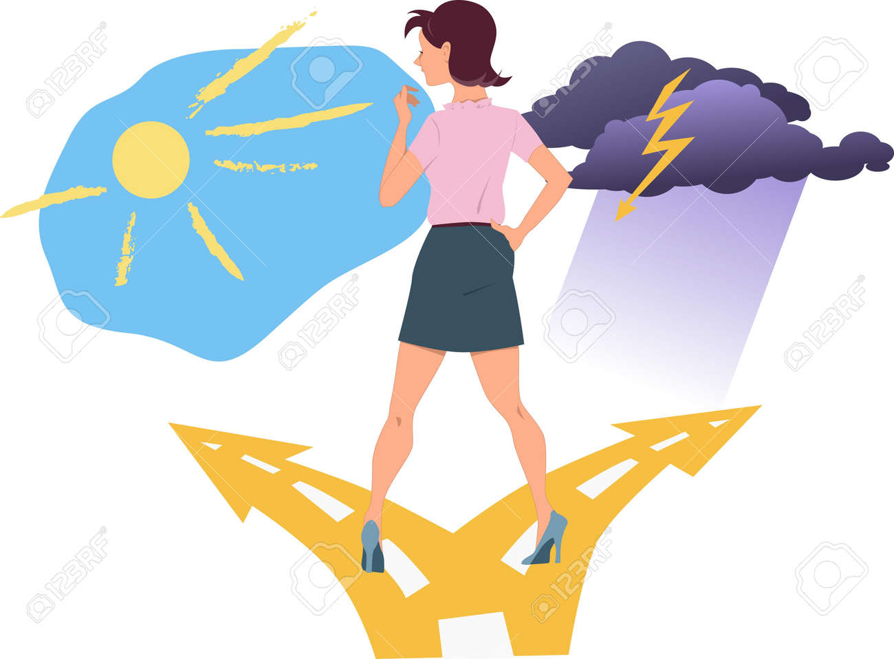 Young woman standing at the fork in the road, choosing between happiness and depression Stock Vector - 19088788
