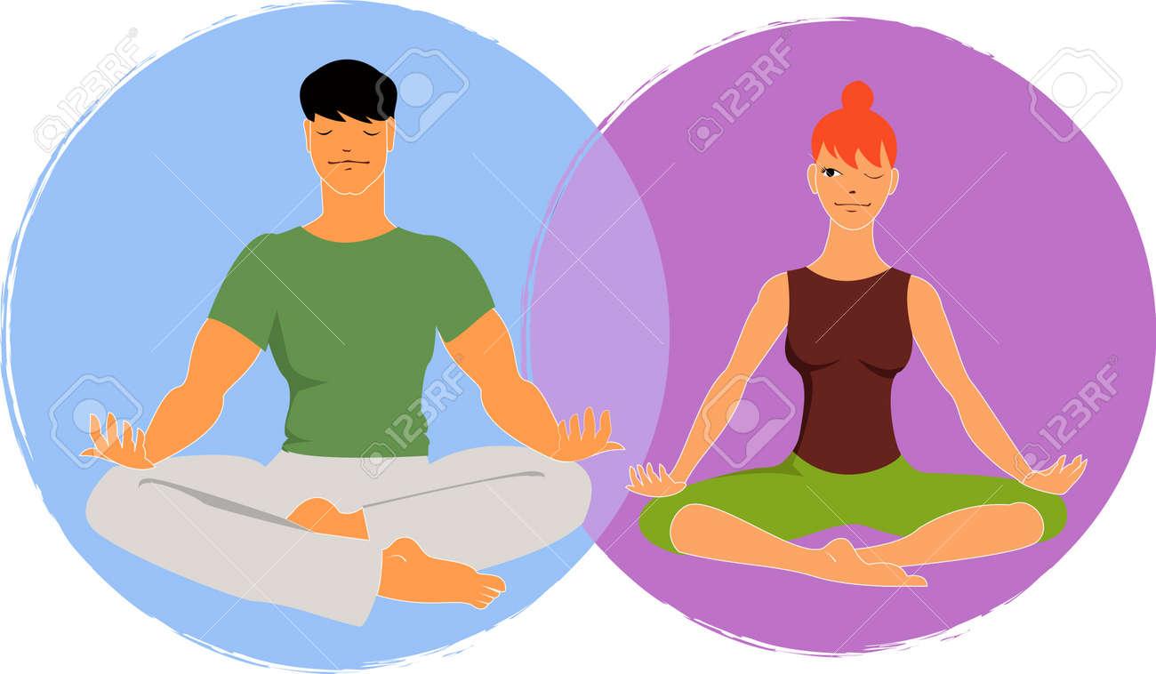 Young man and woman meditate in lotus asana, woman peeking at a man, vector illustration Stock Vector - 19117755