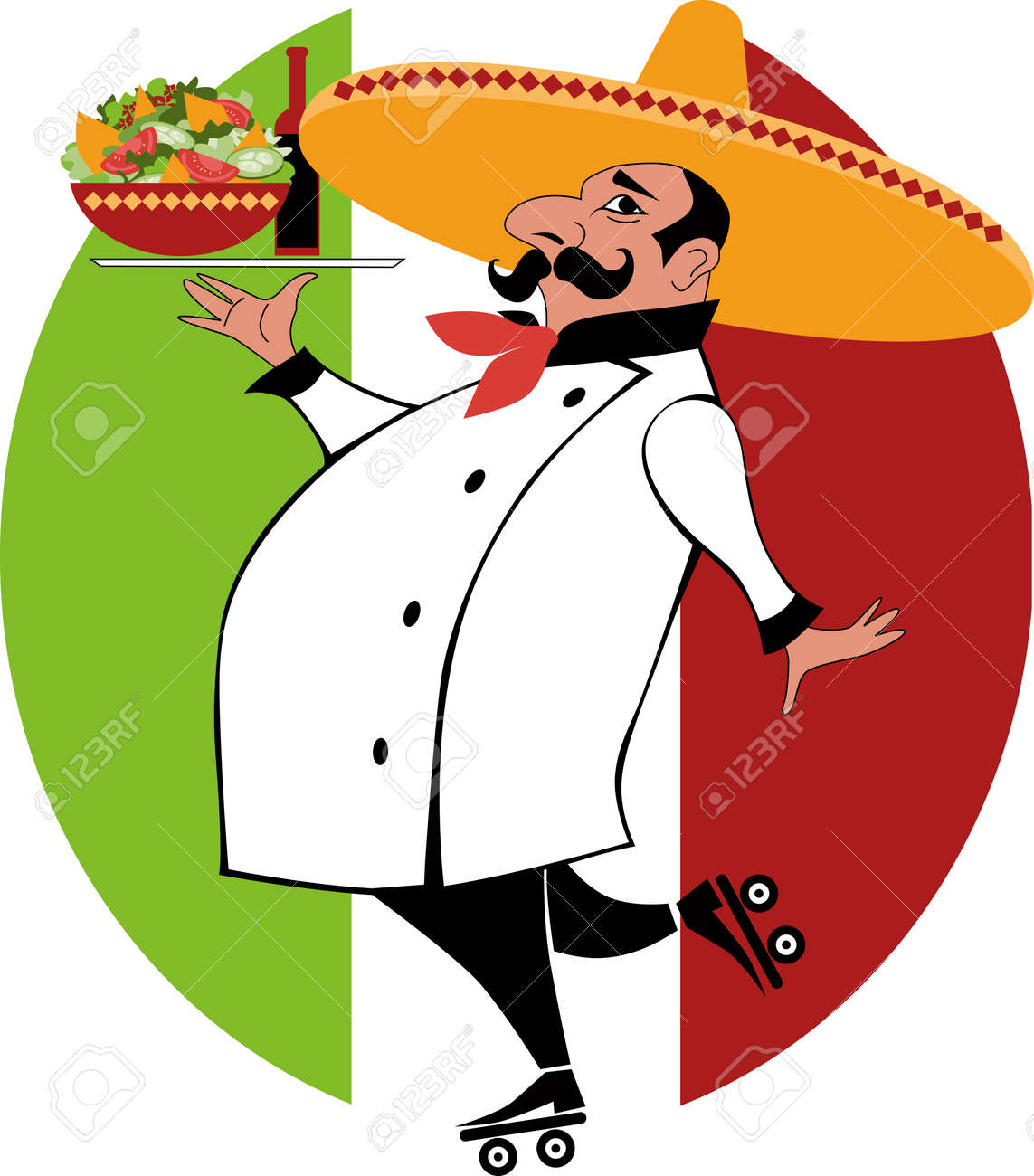 Cartoon Of A Mexican Chef In Uniform And Sombrero On Roller Skates Carrying Tray