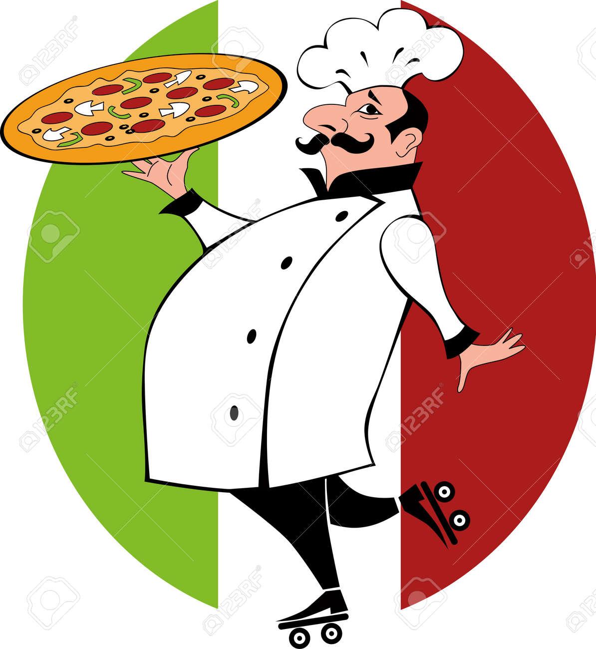 Pizza Chef Uniform Funny Chef in Chef Uniform on
