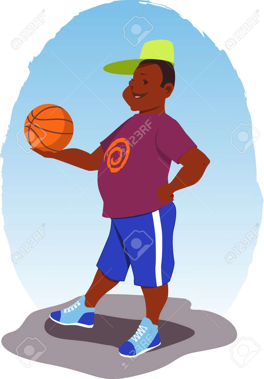Guy with a basketball Stock Vector - 19505702