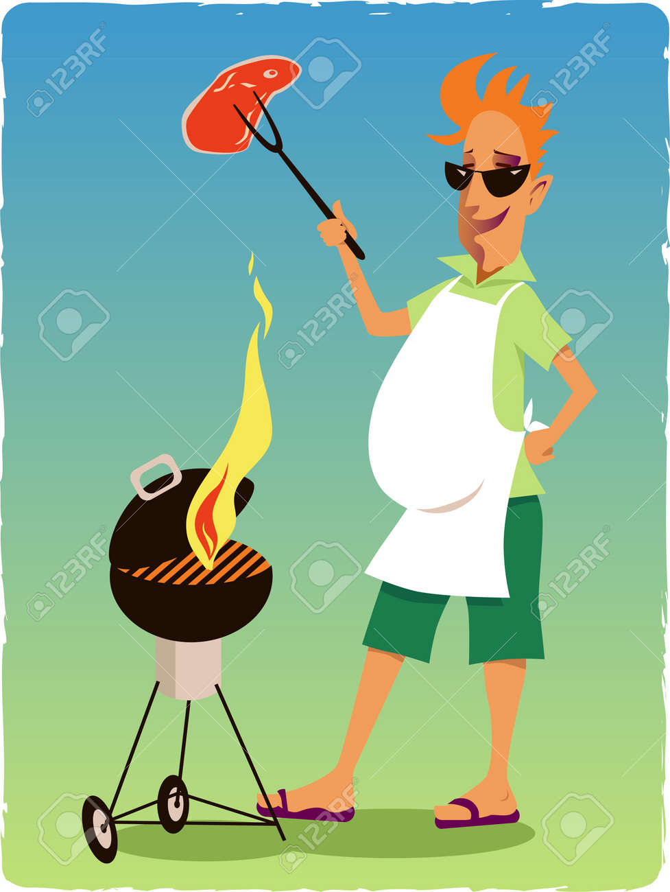 Hapy man bagbecuing steak on a grill Stock Vector - 20302422
