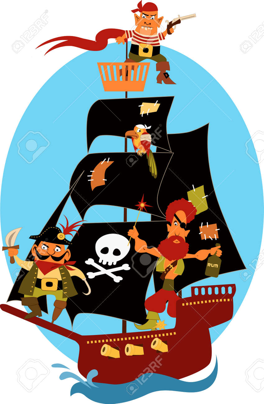 cartoon pirate ship with cute pirates and a parrot sailing under