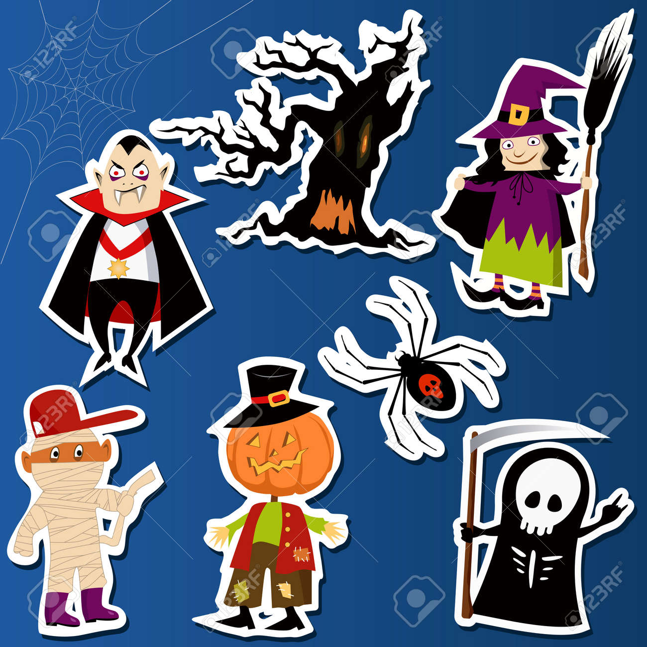 Set of cute Halloween character stickers with Witch, Mummy, Dracula, Grim Reaper and