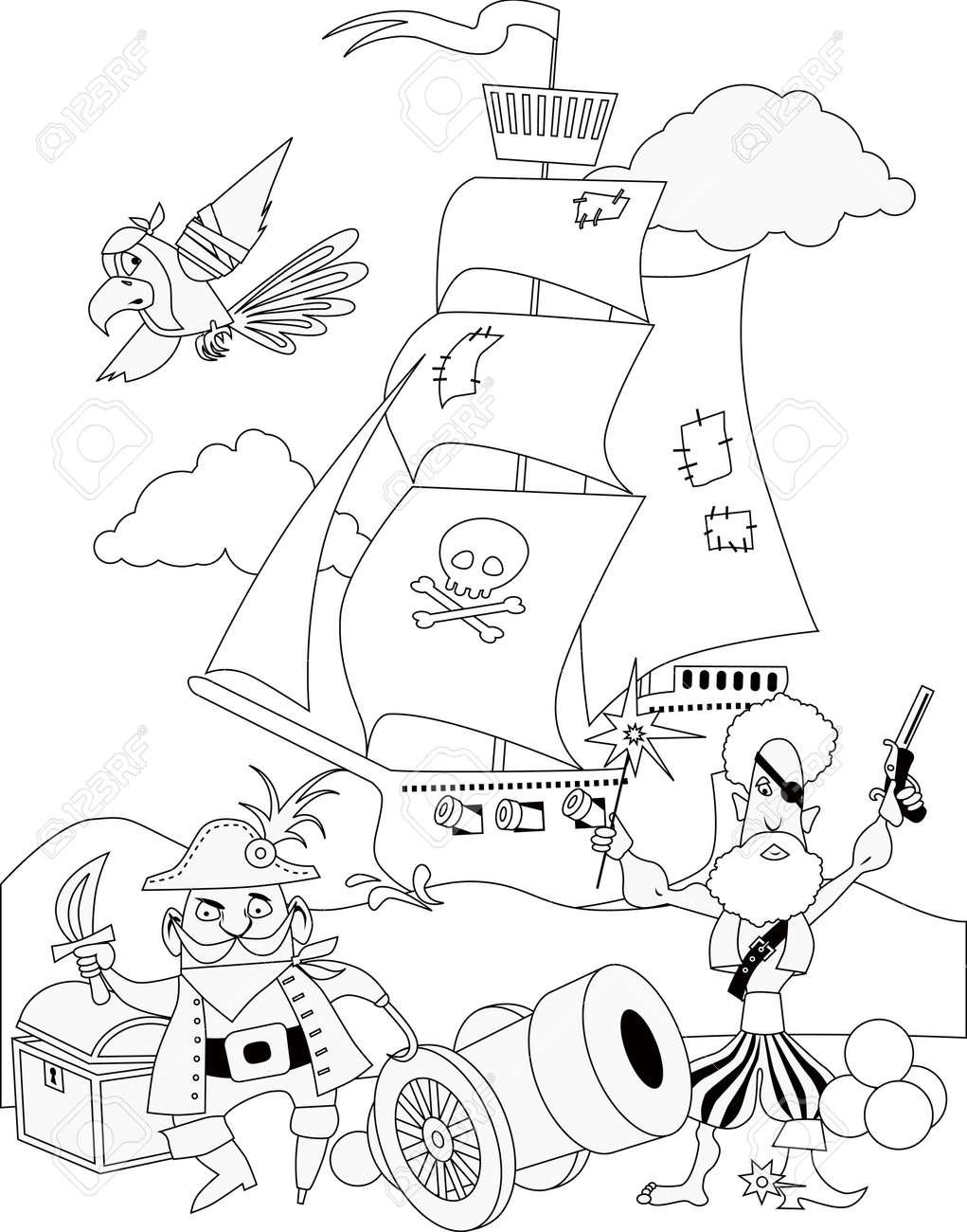 Piratas Con Un Cañón Y Un Barco, Página Para Colorear, Negro Y ...