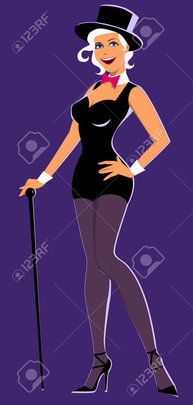 Sexy Mujer Joven En Un Coro Traje Line, Sombrero De Copa Y Un Bastón ...