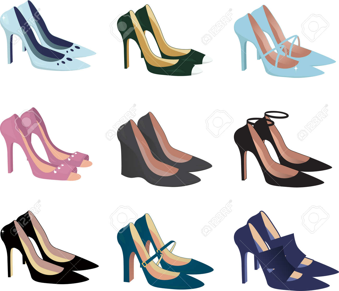 Assorted Women High Heel Shoes Isolated On White, Vector ...