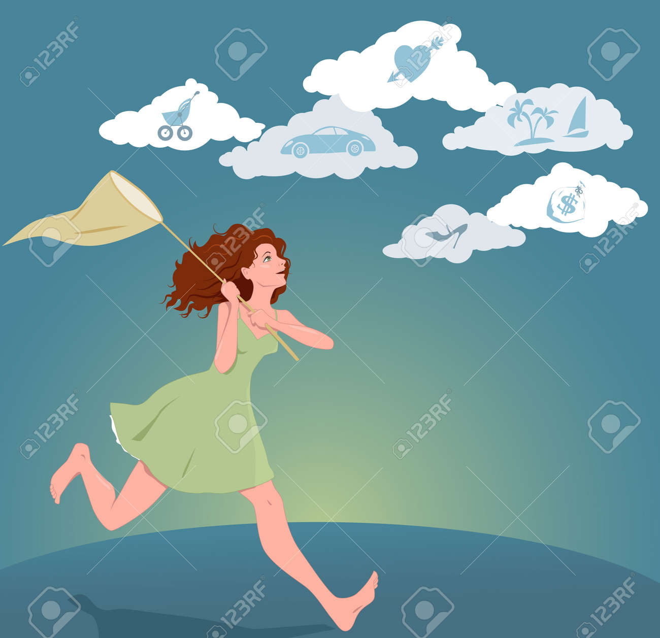 Girl With A Butterfly Net Running After Clouds With Symbols Of