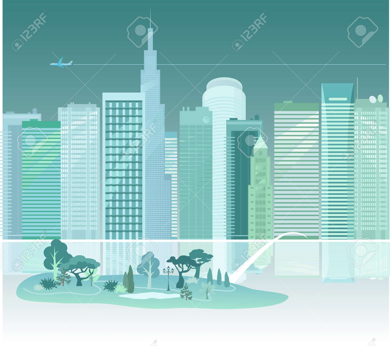 City and a park across the river Stock Vector - 26056174