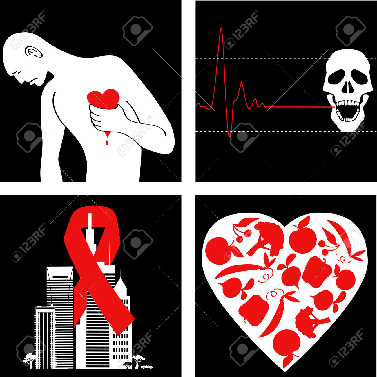 Heart Attack Prevention Set Of Icons With Symbol For Cardiovascular