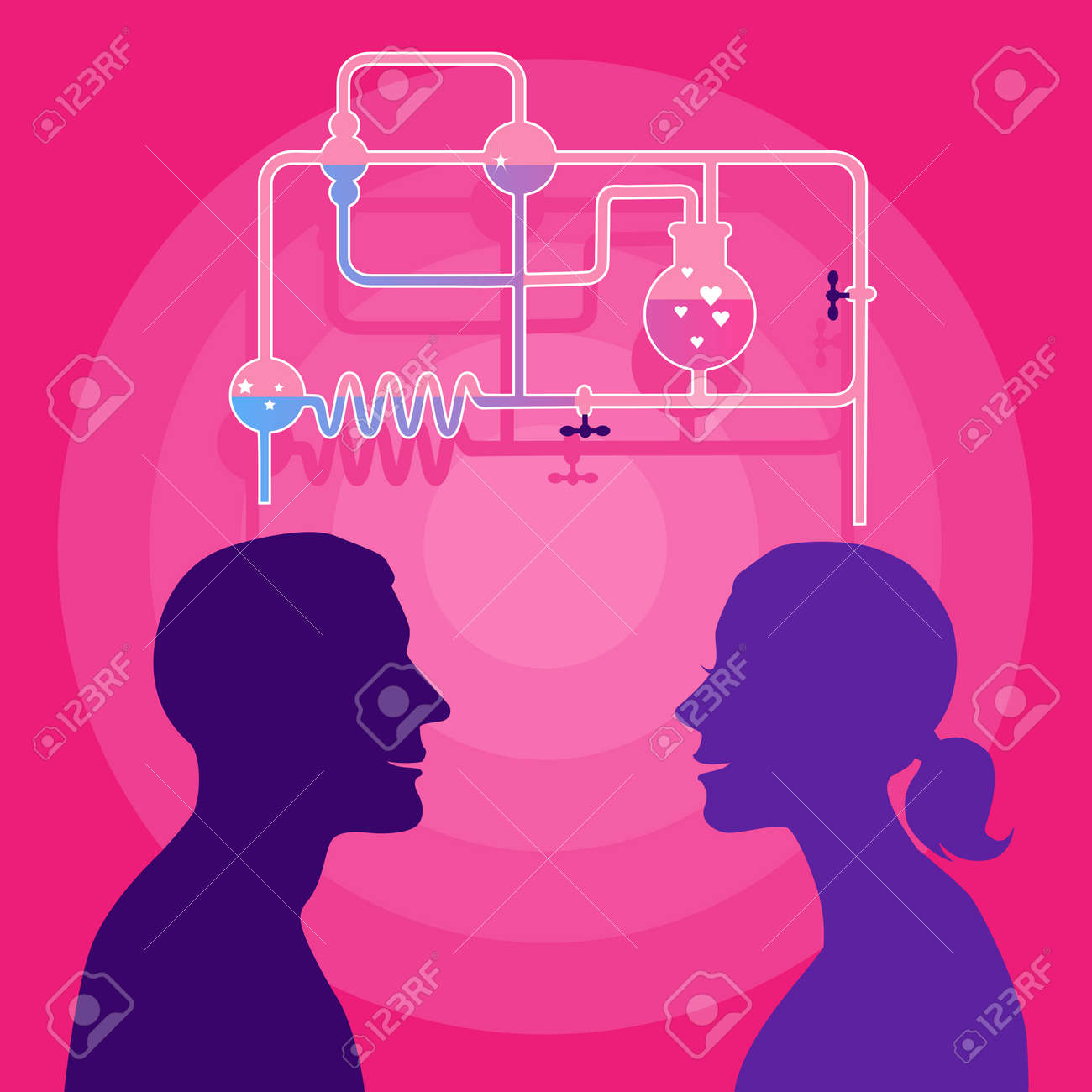Love Chemistry Profile Of Man And Woman With A Chemistry Set