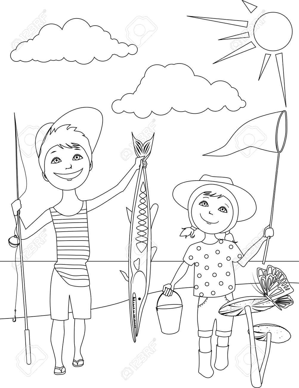 Actividades De Verano Para Niños Para Colorear Ilustraciones ...