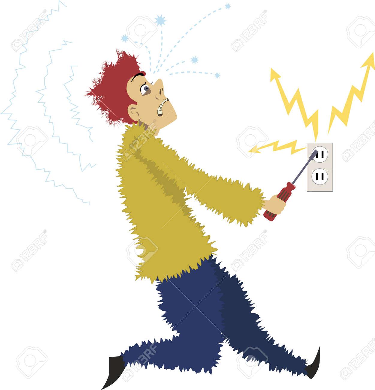 Cartoon Man Gets Electrocuted Sticking A Screwdriver Into An ...