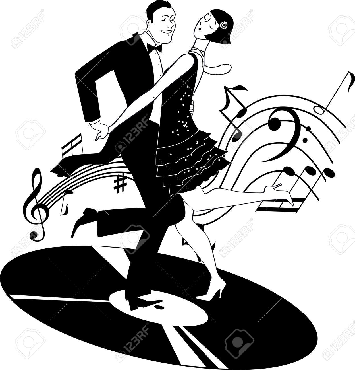 black and white vector clip art of a couple dressed in 1920s rh 123rf com 1920s clip art images 1920s clipart borders