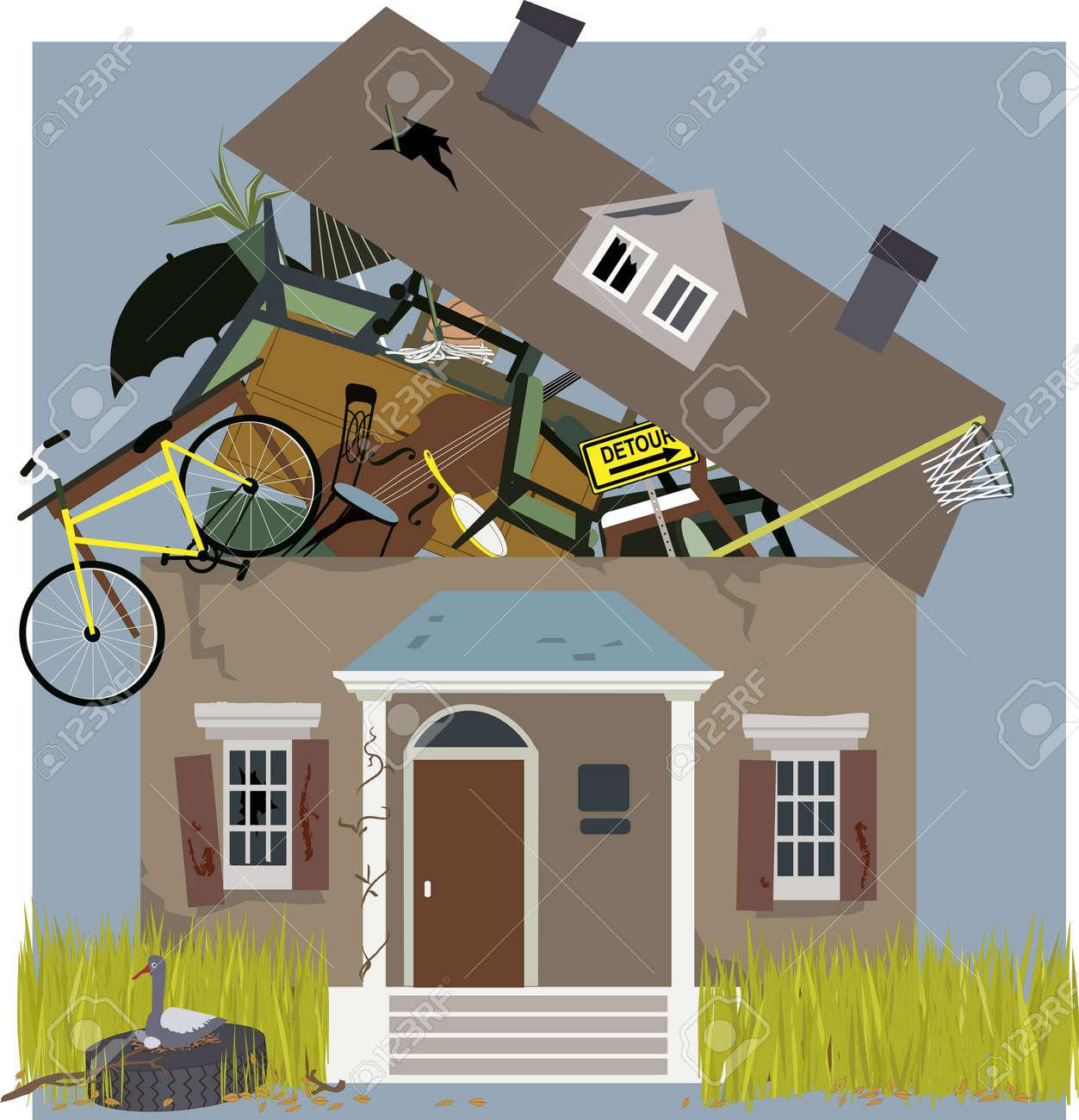 Hamsterer Haus Mit Angesammelten Sachen überflogen, Vektor ...