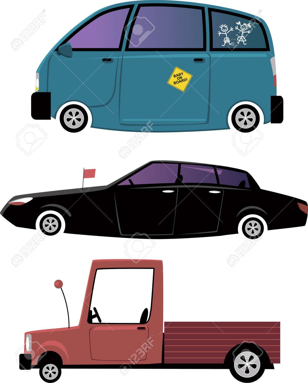 Conjunto De La Ilustración Del Coche De Tres De Dibujos Animados Minivan Limusina Y Una Camioneta Pick Up Aislado En Blanco Eps 8 Sin