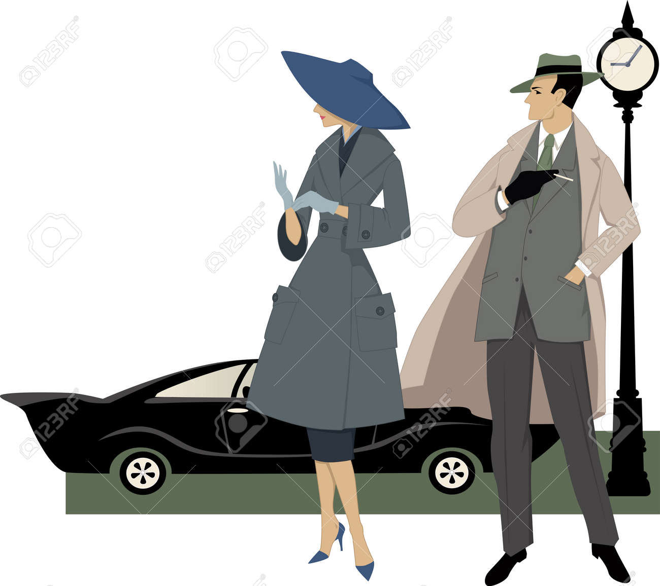 Elegant Couple Dressed In 1950s Fashion A Classic Car And Clock Behind Them