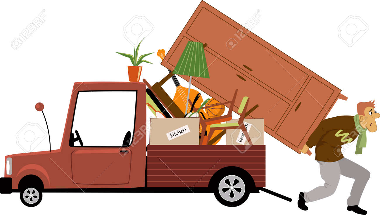 An Exhausted Man Loading A Truck With Furniture Vector