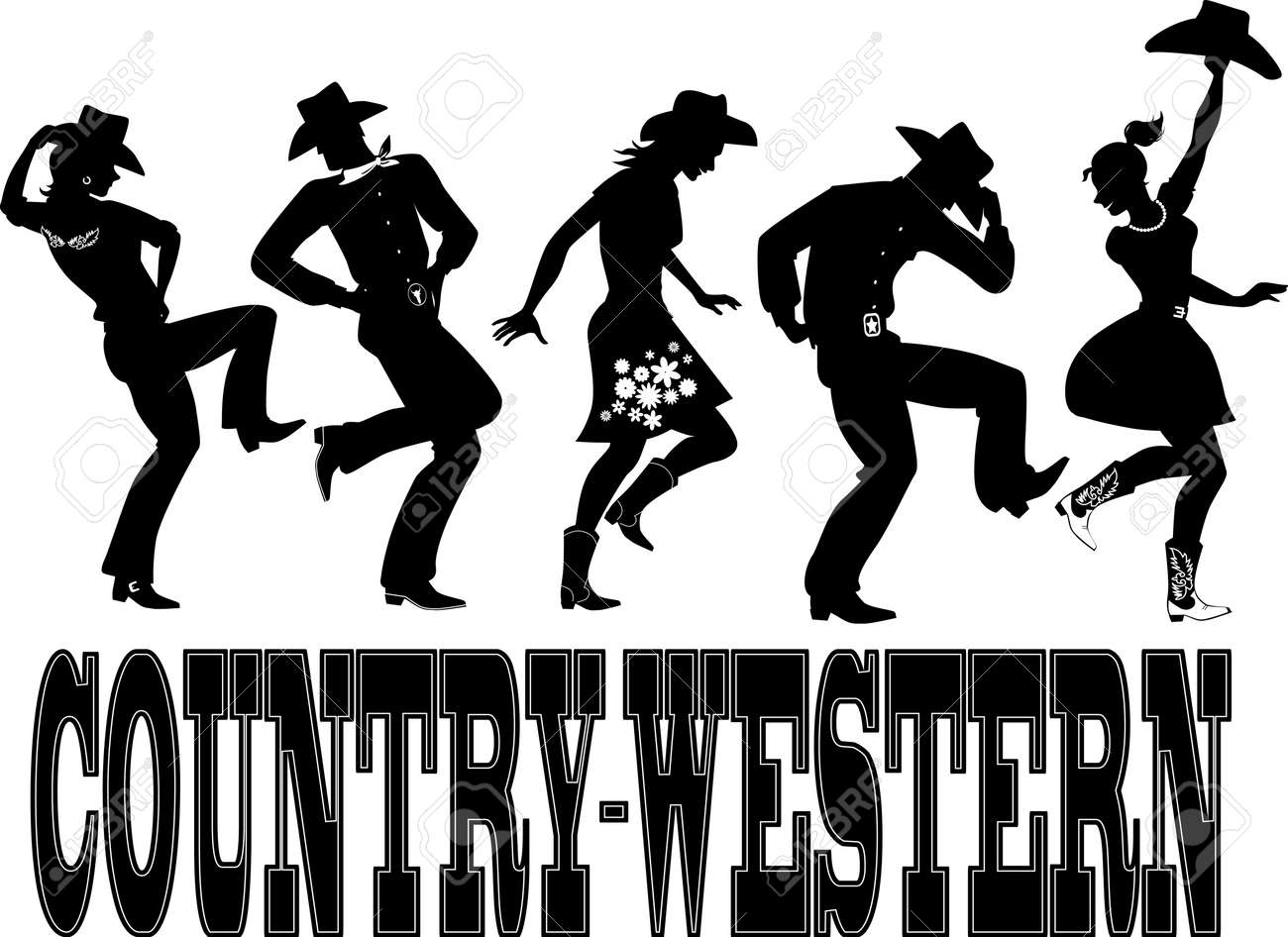Silhouette Of People Dressed In Western Style Clothes, Dancing ...