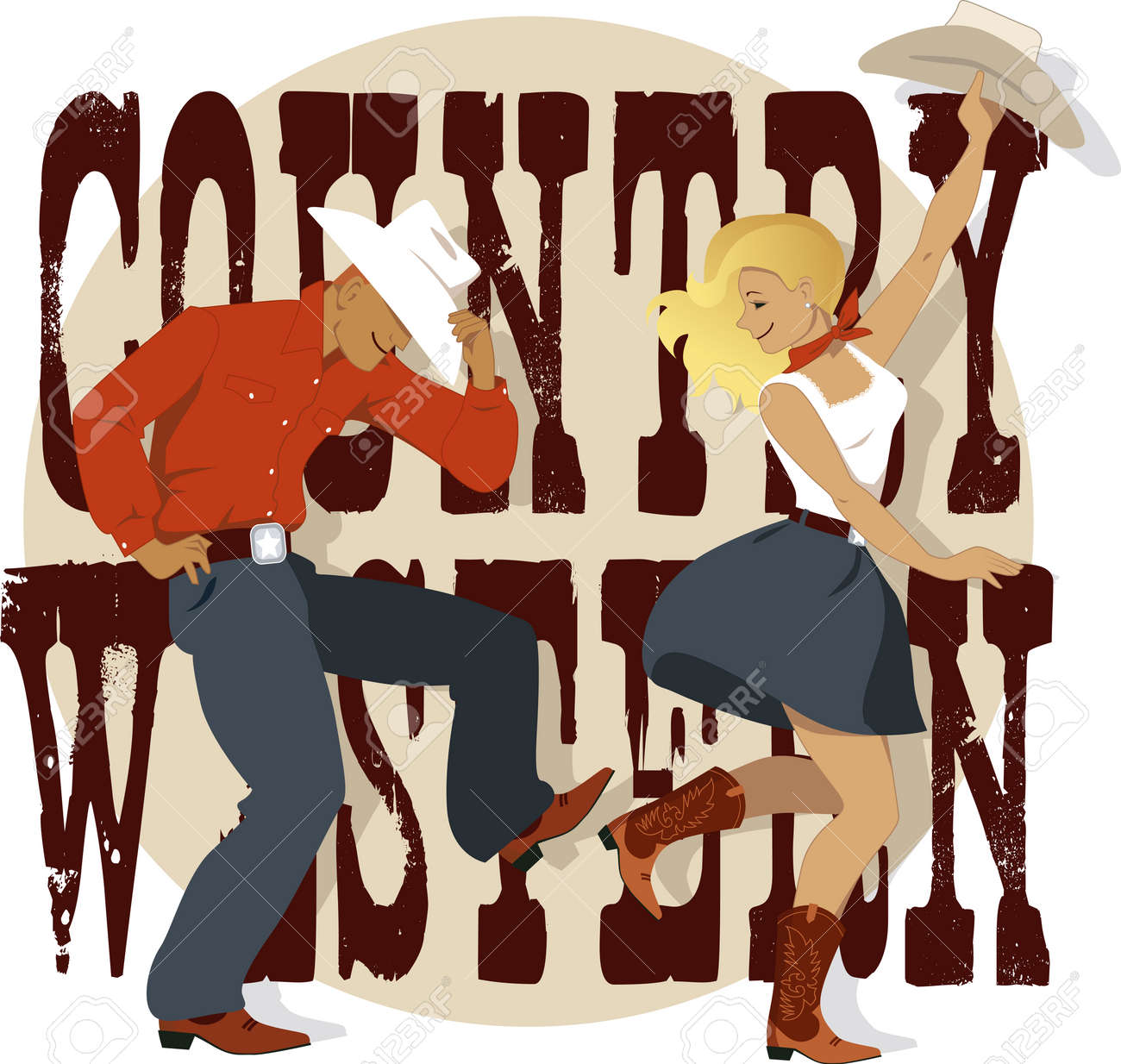 Young Couple Dancing Country Western Style, Decorative Lettering ...
