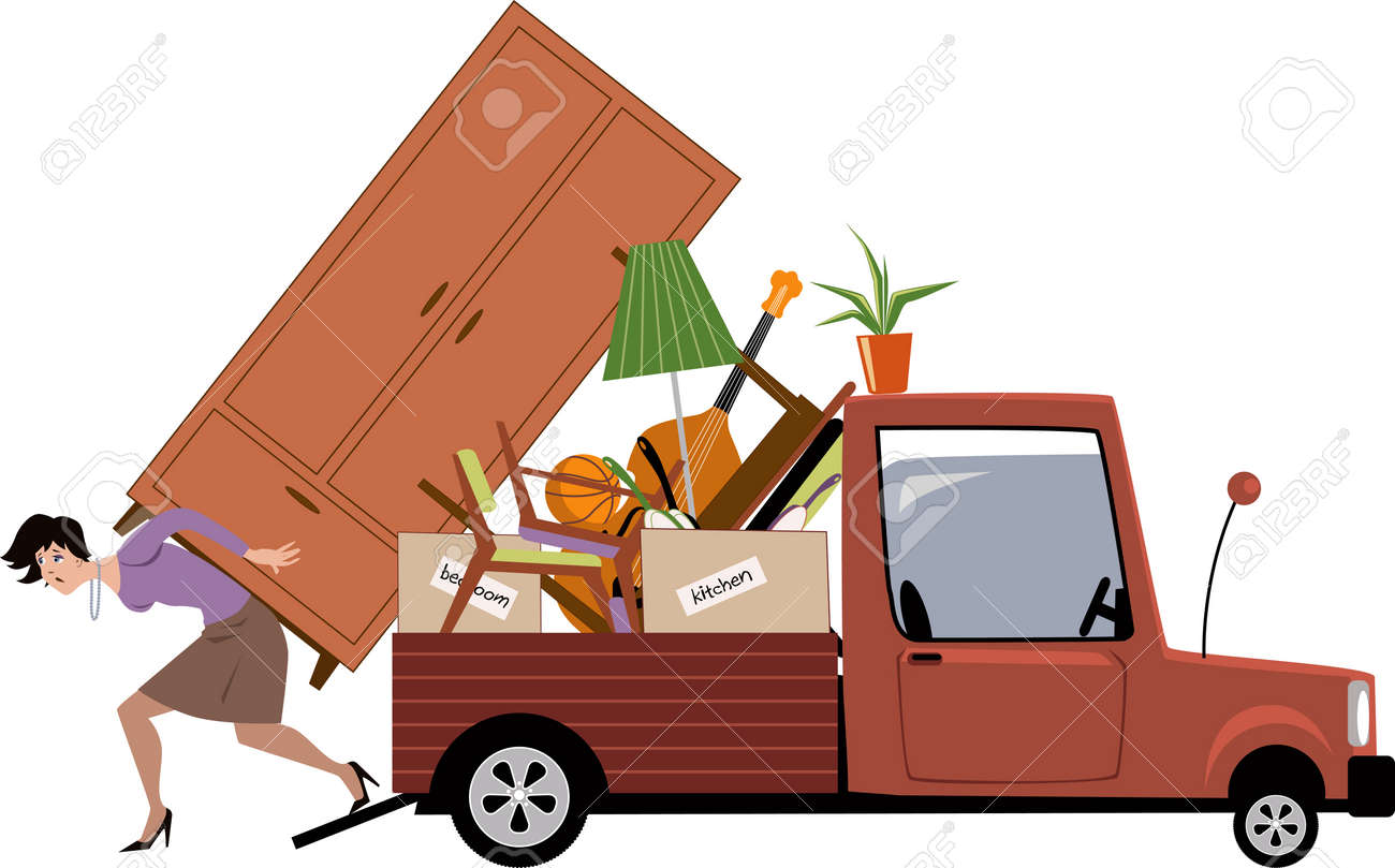 Woman In Process Of Relocation Loading Furniture On A Pick Up