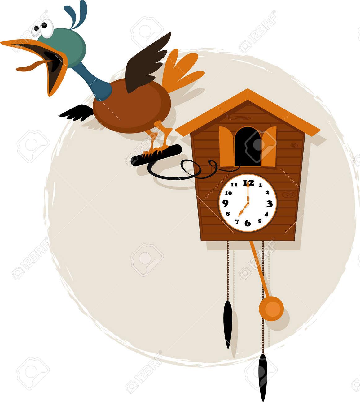 Pájaro Mecánico Divertido Que Emerge De Una Antigüedad De Dibujos Animados Vector De Reloj De Cuco Llamativa Sin Transparencias Eps 8