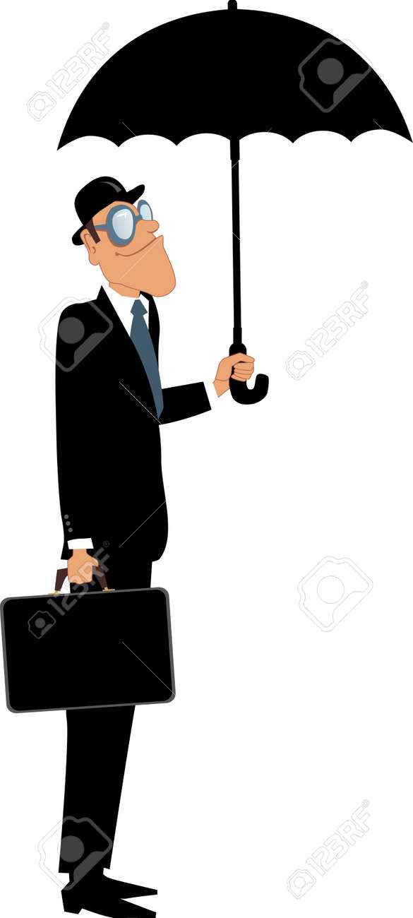 Man In A Bowler Hat And Suit Holding A Briefcase Standing Under